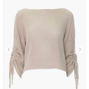Shadow-Striped Drawstring Sweater   Oatmeal   S